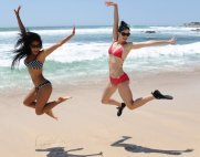 Nicole Scherzinger and Krysten Ritter wears Oakley Pamper and Beachwear Collection