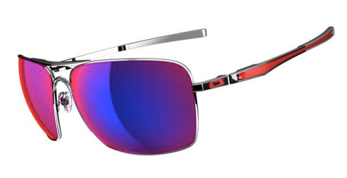 $260 Oakley Plaintiff Squared SKU# OO4063-07 Polished Chrome/Positive Red