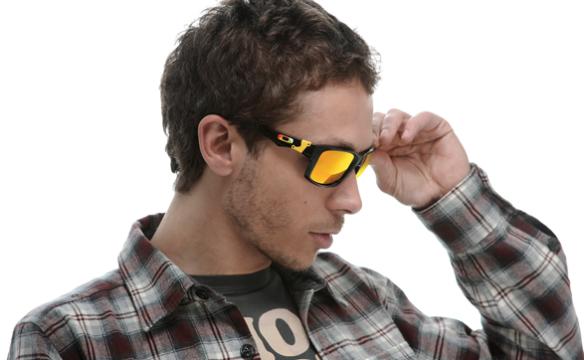 Valentino Rossi wears Oakley Jupiter Squared Signature Series.