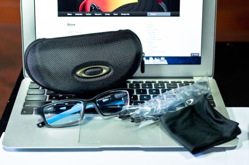 SGD$299 OAKLEY CROSSLINK™ SKU# OX8027-0153 Prescription Glasses. Satin Black/Sky Blue Color: Satin Black/Sky Blue