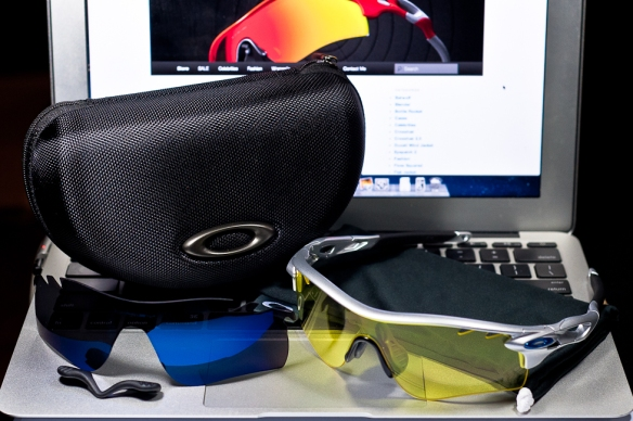 SGD$390 Oakley Custom RadarLock Polarized by wahliao.com Singapore Color: Silver/Ice Iridium Vented/Yellow Vented Purpose: For cyclist, day and night riding.  Set as pictured