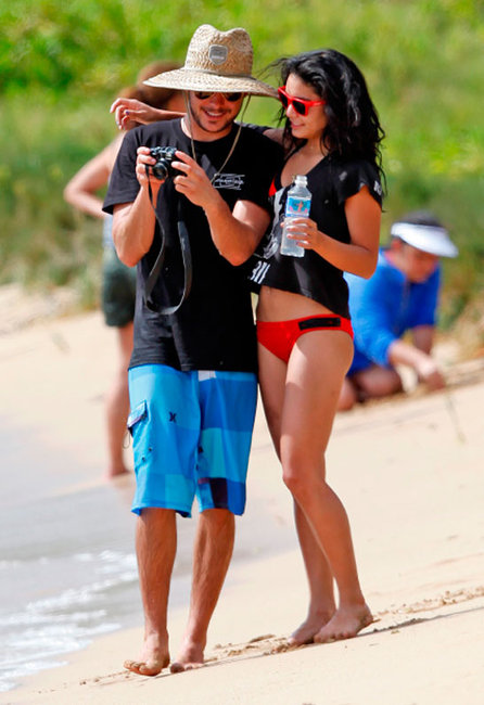 Vanessa Hudgens in a red Oakley Frogskins